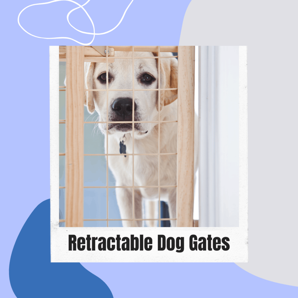a dog looking sad behind a retractable dog gate