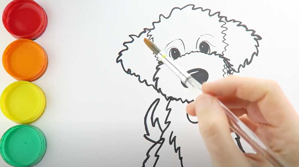 sketch of a goldendoodle puppy